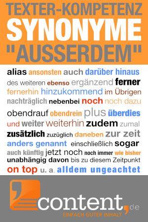 Suchst Du Auch Manchmal Ein Anders Wort Fur Ausserdem Texter Texterfinden Textenlassen Textesc Deutsch Schreiben Lernen Beschreibende Worter Schreibtipps