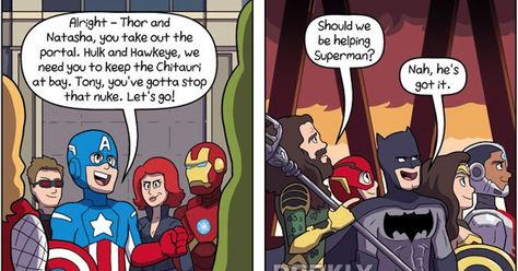 Hilarious Comic Strips- Marvel's Avengers VS DC's Justice