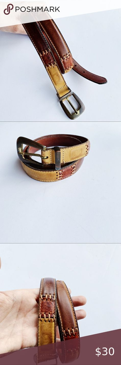 Fossil Leather Woven Patch Belt in 2020 | Leather weaving
