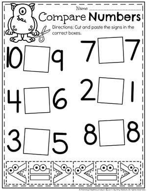 Comparing Numbers Worksheets | 1.rocnik | Kindergarten math ...
