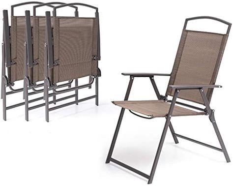 Buy Crestlive Products Set 4 Patio Folding Chairs 4 Pack Dining Chairs Outdoor Portable Sling Armrest Camping Beach Garden Pool Backyard Deck Brown On In 2020 Outdoor Chairs Outdoor Dining Chairs Folding Chair