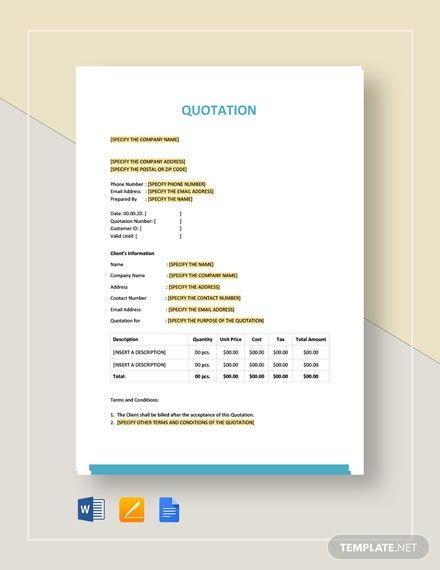 Basic Quotation Template Google Docs Word Apple Pages Template Net Quotations Quote Template Cv Template Word