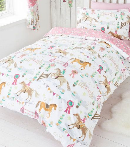 SINGLE BED DUVET COVER SET HORSE SHOW PONY STARS DAISY REVERSIBLE PINK WHITE