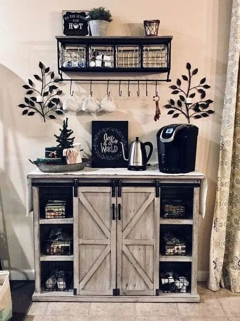Outstanding DIY Coffee Bar Ideas for Your Cozy Home / Coffee Shop - Awesome Coffee Bar Ideas that Will Makes All Coffee Lovers Falling in Love TAGS: Coffee bar ideas, Coffee station kitchen, DIY Coffee bar in kitchen, Farmhouse coffee bar, Keurig station Coffee Station Kitchen, Coffee Bars In Kitchen, Coffee Bar Home, Home Coffee Stations, Coffee Bar Ideas, Coffee Shop, Coffee Cozy, Morning Coffee, Coffee Bar Station