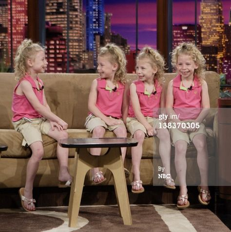 Identical quadruplets Preana, Audreana, Natalie, and Melody Khamsa during an interview on June 2007 Get premium, high resolution news photos at Getty Images