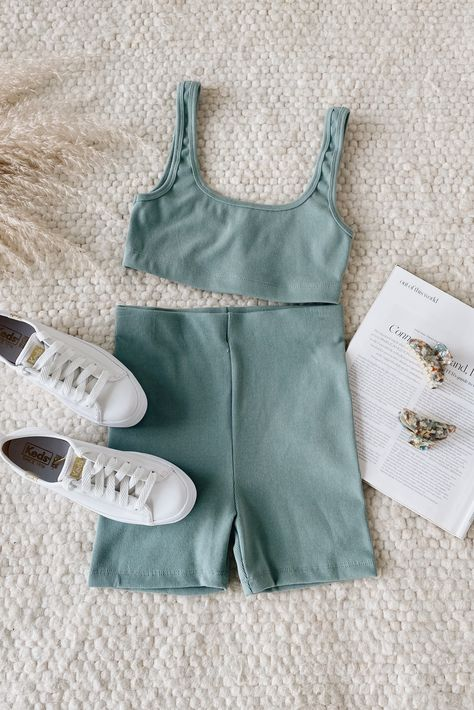 Easily go from yoga to lounging with the Lulus You've Got the Moves Sage Green Ribbed Bralette! Stretchy cotton-blend ribbed knit shapes this low-impact bralette that has wide straps, a scoop neckline, and fitted silhouette with a banded hem for extra comfort. Pair with the matching biker shorts for a complete look! #lovelulus