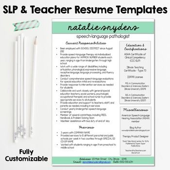 Slp Teacher Resume And Cover Letter Templates Fully Editable Speech Language Pathologists Teacher Resume Speech And Language