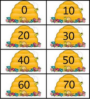 counting to one hundred honey bees printables