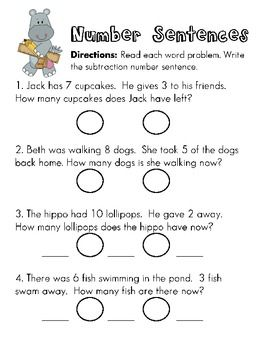 math worksheet : kindergarten students create addition and subtraction sentences  : Subtraction Sentences