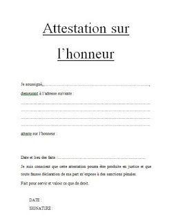 Attestation Sur L Honneur Word Doc En 2019 Modele