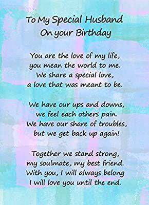 Romantic Birthday Verse Poem Card Special Husband Amazon Co Uk Office Produc Happy Birthday Boyfriend Quotes Birthday Wish For Husband Love Birthday Quotes
