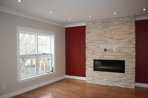 Red Accent Wall like the red accent wall, the floor and the white base board trim