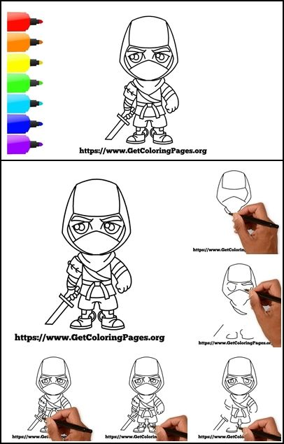 How To Draw Ninja Fortnite : ninja, fortnite, Ninja, Chibi, Fortnite, Drawing, Tutorial,, Drawing,, Drawings