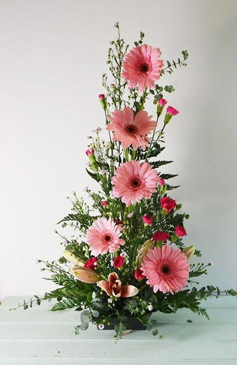 Symmetrical Front Facing Arrangements Are A Classic Triangular Design Usually Fresh Flowers Arrangements Easter Flower Arrangements Church Flower Arrangements