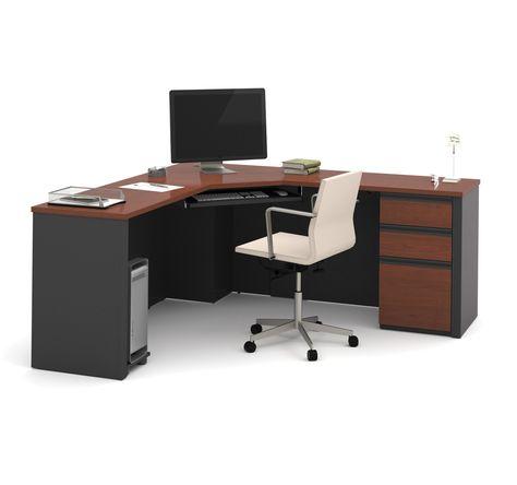 71 X 71 Modern Corner Desk In Bordeaux Graphite In 2020