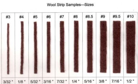 "**For those who want to know what each numbered cut strip size means:  WOOL STRIPS cut from size #3 up to size #10 and what their ""actual measurement size"" is!!"