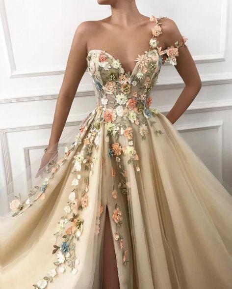One Shoulder Floral Long Formal Prom Dresses Evening Fancy Dress – Laurafas. - One Shoulder Floral Long Formal Prom Dresses Evening Fancy Dress – Laurafashionshop A Line Prom Dresses, Prom Party Dresses, Flower Dresses, Ball Dresses, Ball Gowns, Dress Prom, Dresses Dresses, Fashion Dresses, Wedding Dresses