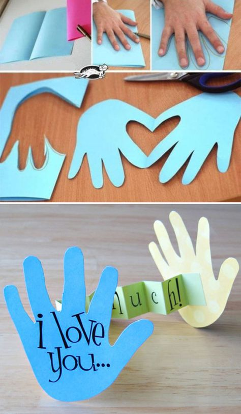 45 Creative Crafts To Make is part of Paper crafts diy kids - kids all want in a creative way by making some cute crafts with their family Crafting with kids will stimulate their creativity and innovation, and… Hand Crafts For Kids, Fathers Day Crafts, Diy For Kids, Toddler Crafts, Preschool Crafts, Fathers Day Craft Toddler, Cards For Kids, Card Making For Kids, Fathers Day Art