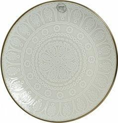 Metallic Rimmed Stoneware Breakfast Plate, 20cm With its smooth glazing over an embossed snowflake print, this metallic rimmed plate will be sure to place perfectly on any table With similar kitchenwares also available in this style, this new line of Stoneware accessories will compliment any home. Dishwasher, microwave and food safe. Size is 20cm