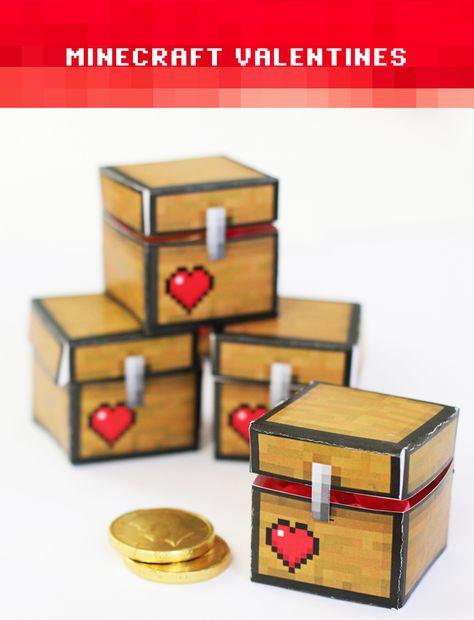 Minecraft Valentines: DIY Treasure boxes with free printable