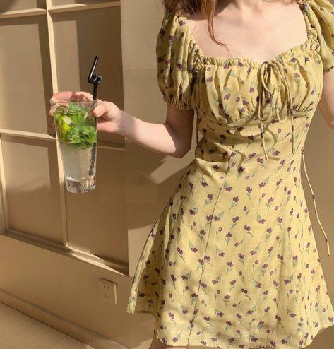 ASHORESHOP Short Sleeve Sun Dresses Yellow Flower Mini Dresses - M / yellow