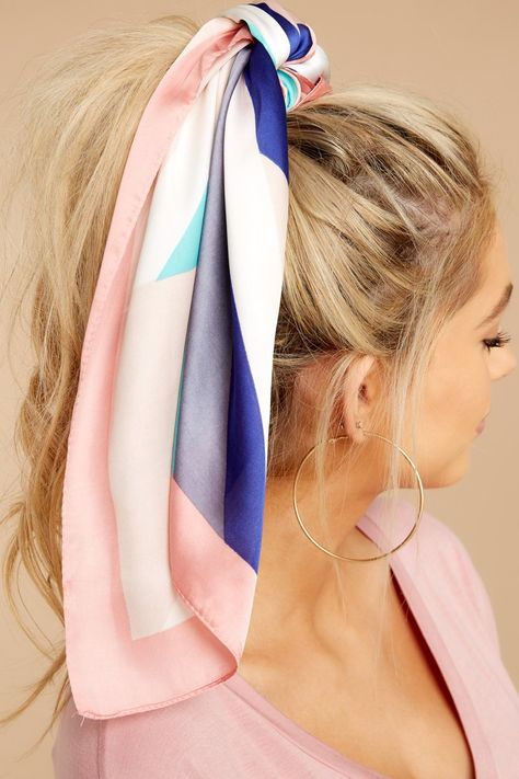 Cute Pink Multi Stripe Hair Scarf - Print Head Scarf - Scarf - $14.00 – Red Dress Boutique