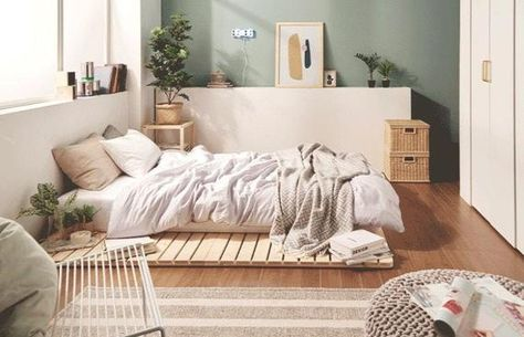 Low Bed Frame, Raised Bed Frame, House Frame Bed, Bed Frame And Headboard, Rustic Wooden Bed, Wooden Bed Frames, Mattress On Floor, Bed Mattress, Camas Twin