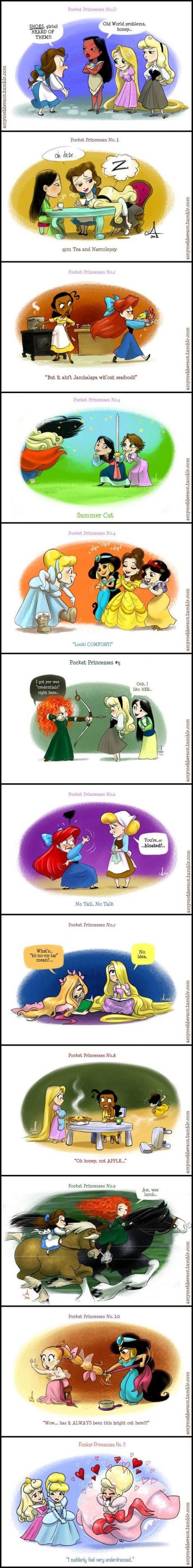 Pocket Princesses (Part by Amy Mebberson Don't consider Brave Disney but. Pocket Princesses, Pocket Princess Comics, Disney Pixar, Disney And Dreamworks, Disney Magic, Walt Disney, Disney Princess Memes, Disney Jokes, Funny Disney Memes