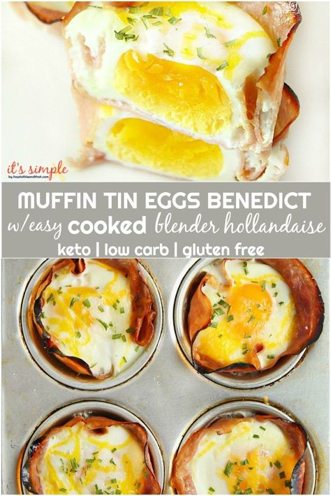 Our keto eggs benedict is like a low carb egg cup modeled after the classic to be k approved! Our EASY Blender Hollandaise Our keto eggs benedict is like a low carb egg cup modeled after the classic to be k approved! Our EASY Blender Hollandaise Muffin Tin Breakfast, Eggs In Muffin Tin, Muffin Tin Recipes, Low Carb Breakfast, Egg Recipes, Breakfast Casserole, Brunch Recipes, Gourmet Recipes, Low Carb Recipes