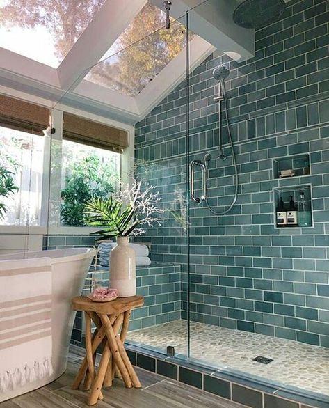 Home Interior Salas .Home Interior Salas Bathroom Colors, Colorful Bathroom, Bathroom Goals, Modern Bathroom, Small Bathroom, Bathroom Ideas, Bathroom Inspo, Skylight In Bathroom, Master Bathroom