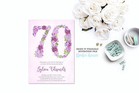 Milestone Birthday Invites 60th Invitations Female Lavender In