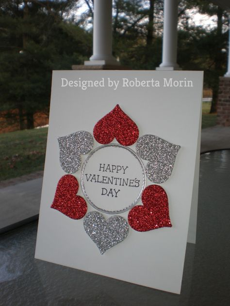 Red & Silver Valentine Hearts~ by stampin'nana – Cards and Paper Crafts at Splitcoaststampers Red & Silver Valentine Hearts~ by stampin'nana – at Splitcoaststampers Valentines Day Cards Handmade, Valentine Day Crafts, Greeting Cards Handmade, Sinful Colors, Stamping Up Cards, Creative Cards, Homemade Cards, Envelopes, Holiday Cards