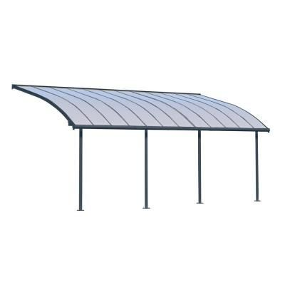 Palram Feria 10 Ft X 24 Ft Grey Patio Cover Awning 702740 The Home Depot Grey Patio Covered Patio Patio