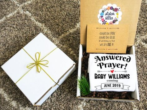 03d821fd9 Answered Prayer Baby Announcement Onesie® Gift Box a Personalized Religious  Christian Pregnancy Reveal to Parents