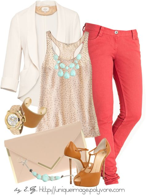 casual chic: paring neturals or black and white with a pop of color is really in this spring. So try this outfit with bright coral pants a nude top and a mint green statement necklace!