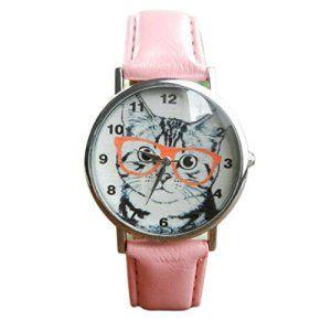 Fulltime Tm Motif De Chat Avec Lunettes Imprimees Mode Montres A Quartz Analogique Bande Pink De Pu Cuir Leather Watch Bands Watches Women Fashion Leather