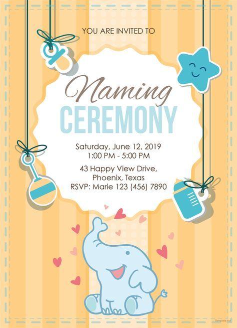 Elegant Naming Ceremony Invitation Template Free Pdf Word Doc Psd Apple Mac Pages Illustrator Publisher Naming Ceremony Invitation Naming Ceremony Cradle Ceremony