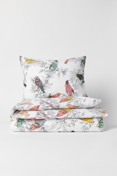 Patterned Duvet Cover Set White Birds Home All H M Us Duvet Cover Pattern Duvet Cover Sets Bird Duvet Covers