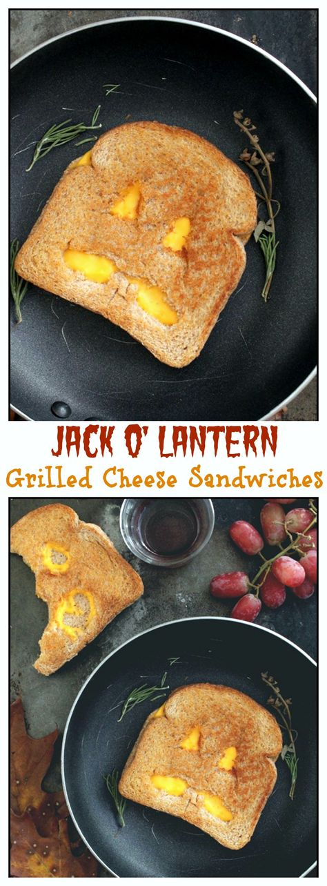Jack O' Lantern Grilled Cheese Sandwiches - SUPER FUN idea to make for your kids!