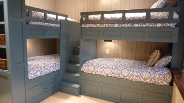 I love the arrangement of these bunk beds. The stairs in the middle are the perfect combination of space saving and safe! Bunk Beds For Three Kids Design Ideas, Pictures, Remodel, and Decor - page 16