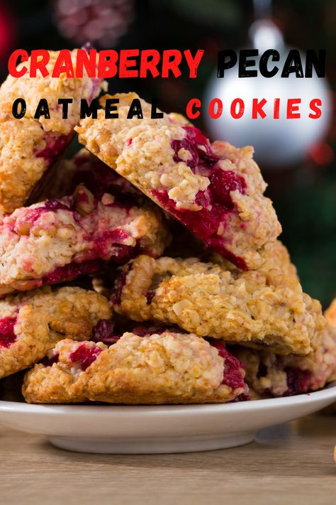Cranberry Pecan Oatmeal Cookies are super delicious the tart bits of fresh cranberries, Amazing flavor in every bite. #cranberry #oatmealcookies #cookies #holidaycookies #greatgrubdelicioustreats
