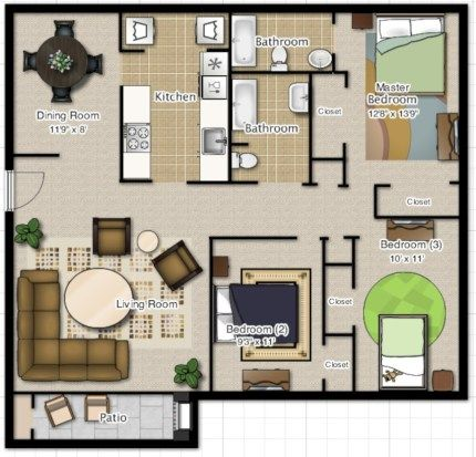 52 Creative Two Bedroom Apartment Plans Ideas Roundecor Tiny House Layout Tiny House Plans Family House Plans