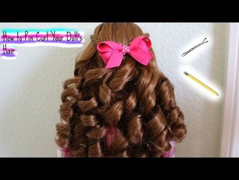 This is a video of how to pin curl your doll's hair. Big thanks to our friend Emma for letting us use her beautiful doll Saige and THANK YOU ALL SO MUCH FOR . American Girl Doll Hair Care, American Girl Crafts, American Girls, Curled Hairstyles, Vintage Hairstyles, Ag Doll Hairstyles, Updo Hairstyle, Wedding Hairstyles, Doll Hair Detangler