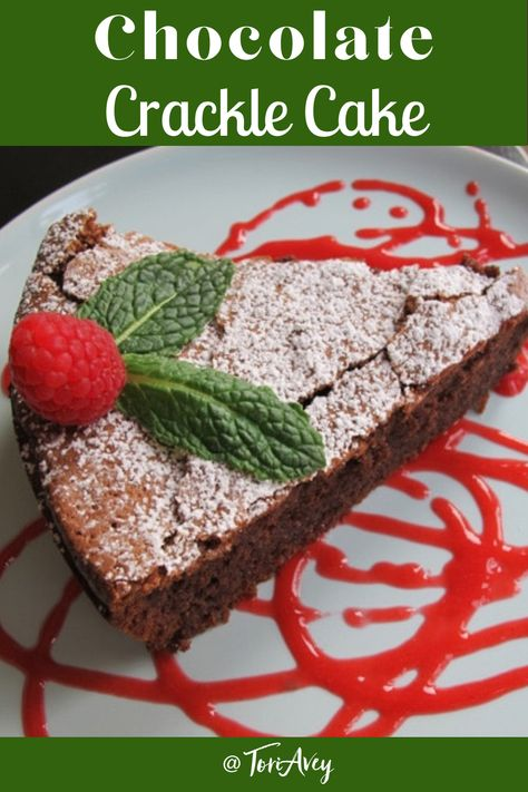 Chocolate Crackle Cake with Raspberry Coulis - scrumptious cake with refreshing raspberry sauce and fresh mint. | ToriAvey.com #Kosher for Passover #glutenfree #kosher #flourlesscake #flourlesschocolatecake #raspberrycoulis #freshmint #TorisKitchen