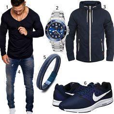 Herren Mit LederarmbandUhr Und Outfit Schuhen Blaues Nike 5q4A3RjL