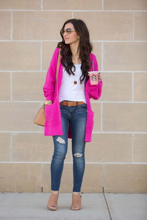 huge sale fashion style wholesale outlet Hot Pink Cardigan | Fashion | Pink sweater outfit, Hot pink ...