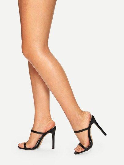 98d9b34fc109 Details about Sexy Women Stilettos Slide Mules High Heels Patent leather  Sandals Slip On Shoes