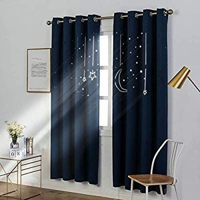 Mangata Casa Kids Star Blackout Curtains With Grommets 2 Panel Cutout Starry Sky For Nursery Room Thermal Window Cur Grommet Curtains Curtains Darkening Drapes