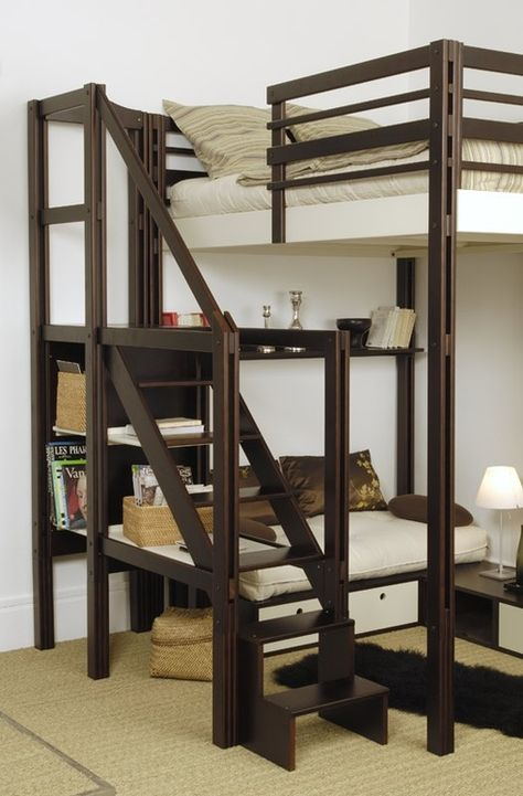 Exploring tiny house living. Loft style bunk Bed with couch seating underneath and shelves / bookcase / display underneath the stairs to the bed. Love the open-style frame in espresso wood with white bedding and furniture. This would be great in studio apartment too!