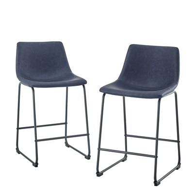 Faux Leather Navy Blue Counter Stools Set Of 2 In 2020 Counter Stools Leather Counter Stools Stool